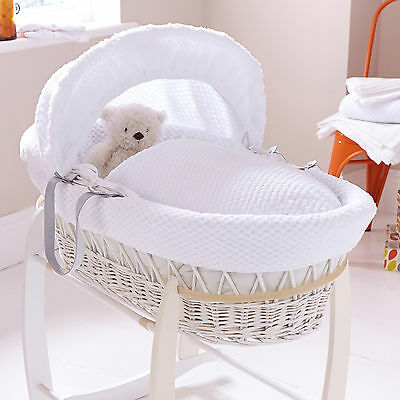 Clair De Lune White Honeycomb Padded White Wicker Baby Moses Basket & Mattress