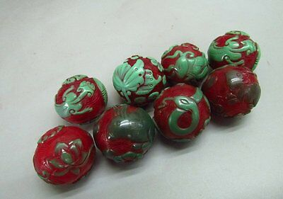 8 Chinese Peking Glass Carved Bead Pendant
