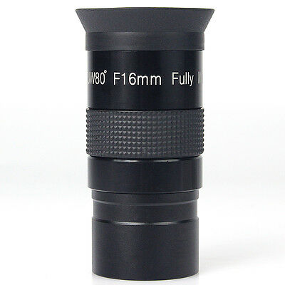 """1.25"""" F16mm Telescope Eyepiece Ultra Wide Angle 80° Fully Multicoated Green Film"""