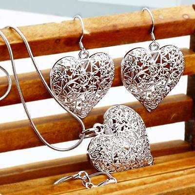 Fashion charms women Sterling silver plated heart Earring Necklace set jewelry