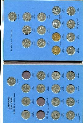 Canada Nickel 1922 - 1960 Complete Coin Near Set Circulated W/ Folder 857J