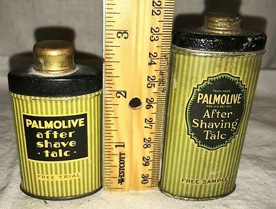 Antique 2X Free Trial Sample Palmolive After Shave Talcum Powder Tin Litho Can
