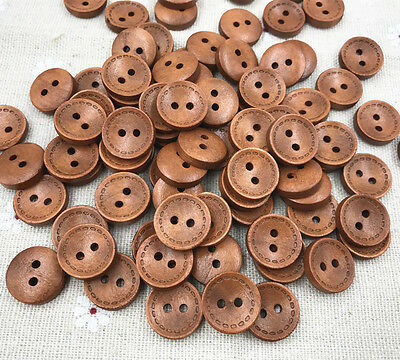 Brown 2-holes Round Wooden Buttons sewing Scrapbooking Craft 15mm