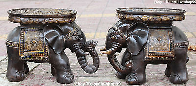 "18"" Chinese Bronze Gilt Fu Double Fish Elephant Seat Chair Footstool Statue Pair"