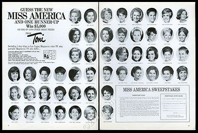 1968 Miss America pageant contestants photo Toni beauty cream vintage print ad