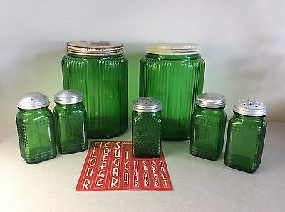 7 Vintage Owens-Illinois Green Ribbed Glass Hoosier Jars / Shakers & Stickers
