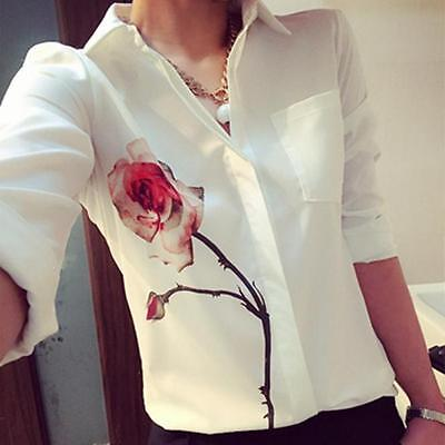 New Womens Ladies Loose Chiffon Button Long Sleeve Tops T Shirt Casual Blouse
