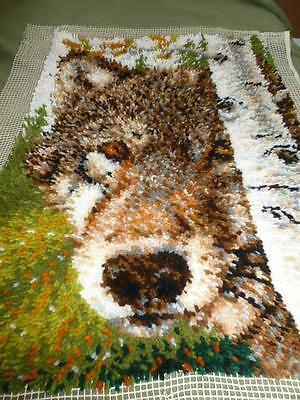 """Wolf Birch Tree 25"""" X 36"""" Completed Finished Latch Hook Rug Wall Hanging"""