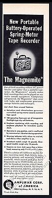 1953 Magnemite portable tape recorder photo Amplifier Corp vintage print ad