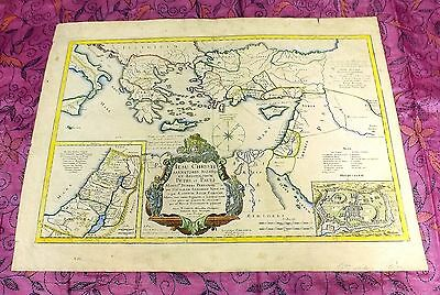 Rare 18Th Century Antique Map Of Palestine Jerusalem By P. Mortier