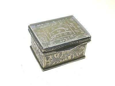 18/19Th C. Islamic Silver Box With Hand Engraved Prayer Crystal Top - Very Nice!