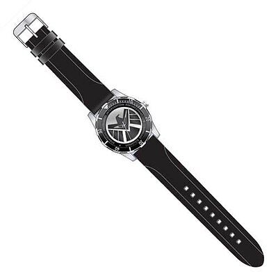 """AGENTS OF SHIELD """"BLACK LOGO WATCH"""" with black silicon strap Marvel NEW IN BOX"""