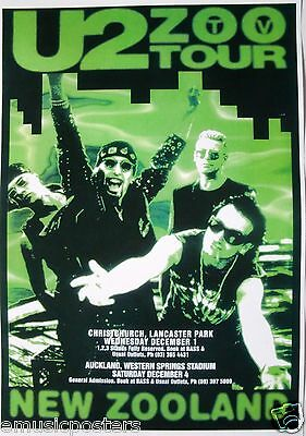 """U2 """"zoo Tv Tour - New Zooland"""" 1993 Concert Poster From New Zealand"""