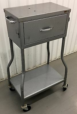 "Vintage Metal Clinic Instrument Medical Table Cart & Drawer 32"" X 18"" X 12"" Rare"