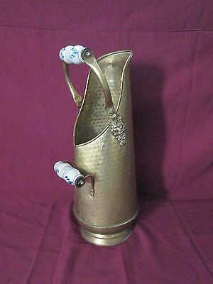 Tall Brass Lion Head COAL SCUTTLE Fireplace Ash Bucket / Cane Umbella Stand