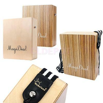 MagiDeal Zebra Wood Travel Cajon Box Drum Hand Percussion Instrument Gift