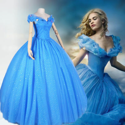 Deluxe Princess Cinderella Adult Dress Cosplay Disney Movie Fancy Costume S-XXL