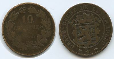G7738 - Luxemburg 10 Centimes 1855 A BARTH KM#23.2 Guillaume III.1849-1890