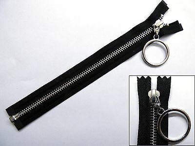 Zip, Zipper, Hanging Ring Puller, Open End, Separating, Metal, YKK, Black