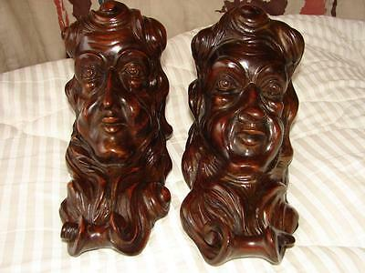 Pair Antique English Carved Wood Brackets Faces Bookend Shelf  Architectural