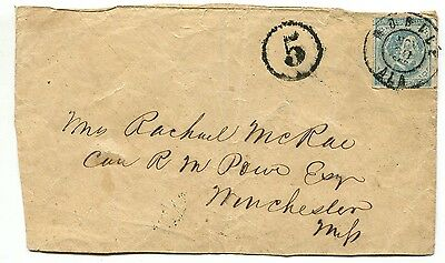 MOBILE ALA NOV 30 1862 CSA #7 plus 5 (due) DT-B on cover front to Winchester MI