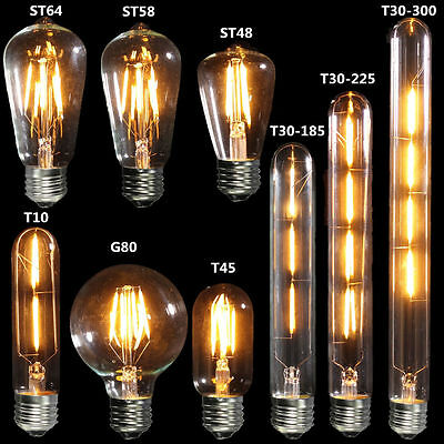 E27 COB Vintage Antique Edison Style Clear Glass Light Lamp Globe Bulb 240V