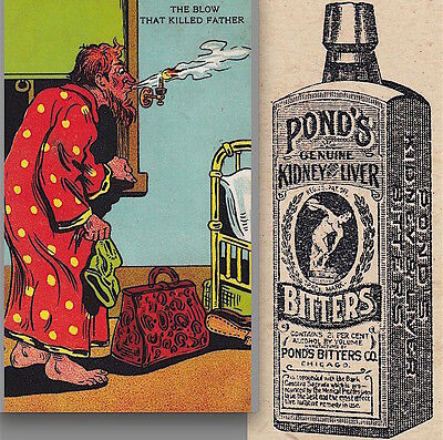 Ponds Bitters Remedy Bottle Hotel Gas Explosion Victorian Advertising Trade Card