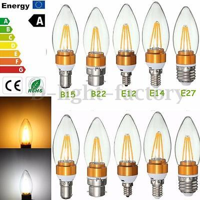 E14 B15 B22 E27 2W 4W Edison Filament COB LED Chandelier Candle Light Bulb