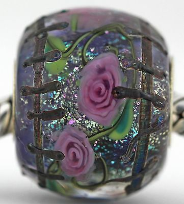 ABANDONED ROSE GARDEN FOCAL sterling silver charm murano glass bead lampwork MWR