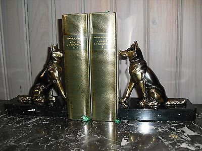 French antique ART DECO REGULE ANIMALS dogs on marble base book ends