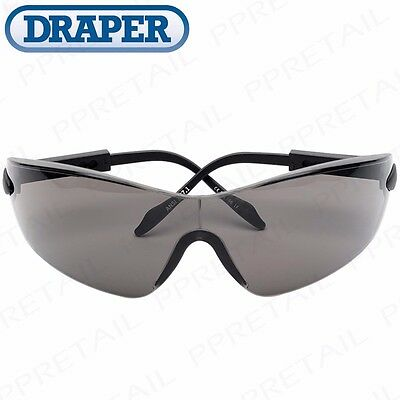 DRAPER ANTI-SCRATCH & MIST SMOKED SAFETY GLASSES Specs Side Shielding UV Protect
