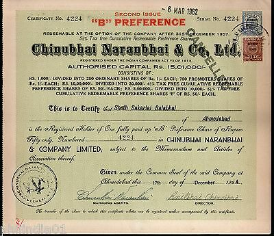 India 1950's Chinubhai Naranbhai & co. Share Certificate with Revenue Stamp # 21