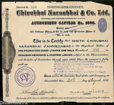 India 1930's Chinubhai Naranbhai & co. Share Certificate with Revenue Stamp # 28