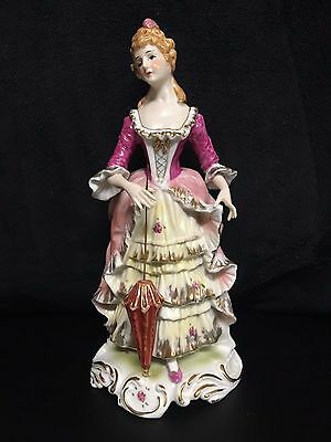 PORCELAIN Figurine Girl with Parasol umbrella Gold Trim HAND PAINTED