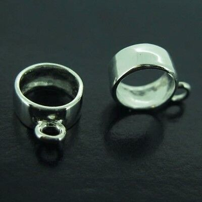 925 Sterling Silver Simple Pendant Bail, Smooth Round Bail with Ring ( 3 pcs )