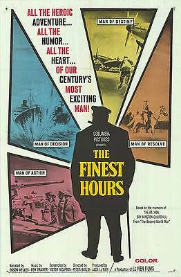 THE FINEST HOURS orig WW2 1964 movie documentary movie poster WINSTON CHURCHILL