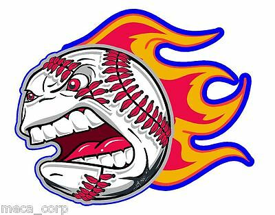 Crazy Baseball with Flames Vinyl Batting Helmet Decal- 4 inches Left Side
