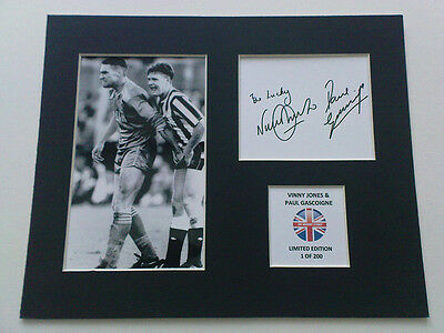 Limited Edition Vinny Jones Paul Gascoigne Signed Mount Display GAZZA VINNY
