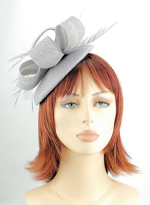 Silver Grey Woven Domed Hair Fascinator matching feathers slim headband