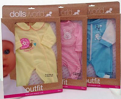 """Dolls World Clothes for 18"""" 46cm Baby Doll Romper Babygrow outfits New Boxed"""