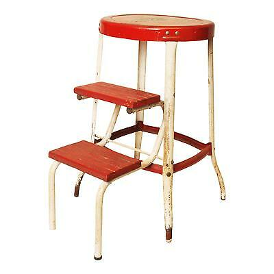 Vintage STEP STOOL chair factory machine age cosco industrial metal shop red bar