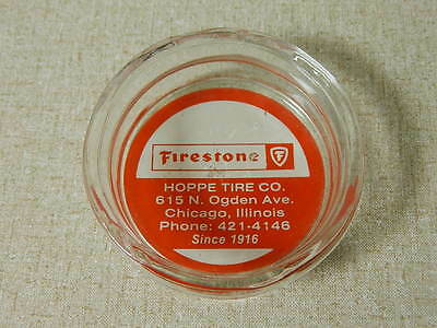 Vintage Glass Firestone Ashtray Red White Hoppe Tire Co. Chicago Illinois Old