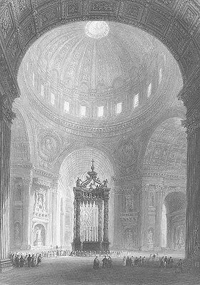 SAINT ST PETER'S BASILICA CHURCH ROME VATICAN CITY, Old 1841 Art Print Engraving