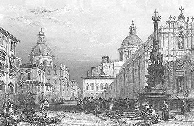 Sicily, CATANIA PIAZZA DUOMO CATHEDRAL MARKET SQUARE ~ 1841 Art Print Engraving