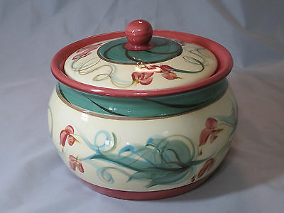 Gail Pittman Tuscan Grapevine Bean Pot With Lid Red & Orange Fruit Green Leaves