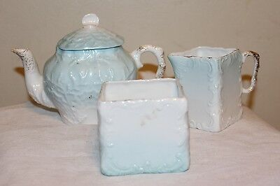 Victorian Porcelain Creamer Sugar & Small Teapot Light Blue & White