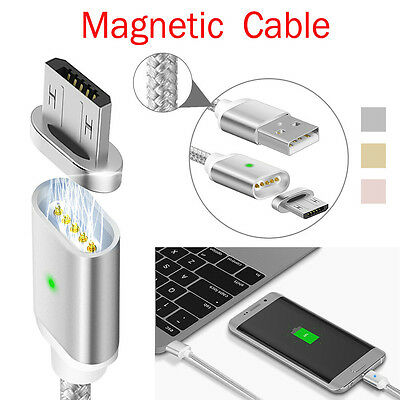 2.4A Magnetic Metal Micro USB Charging Cable Adapter Charger for Samsung Android