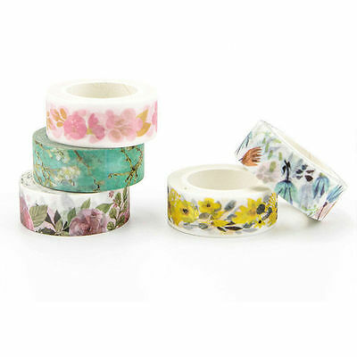 HOT DIY Floral Washi Sticker Decor Roll Paper Masking Adhesive Tape Crafts Gifts