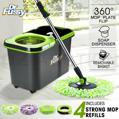 360 Degree Spinning Mop Stainless Bucket Easy Clean w/ 4 Free Spin Mop Heads