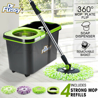 360 Degree Spinning Mop Stainless Bucket Polling Wheel Easy Clean w/ 4 Mop Heads